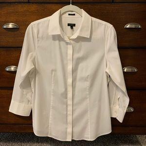 Talbots white button front shirt